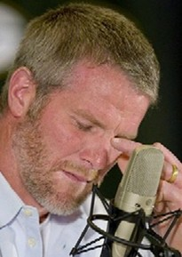 Favre tearfully retires from the Packers back in March 2008.