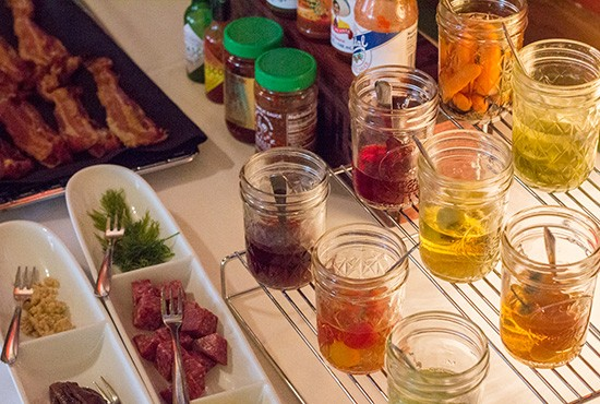 A section of the bloody mary bar.