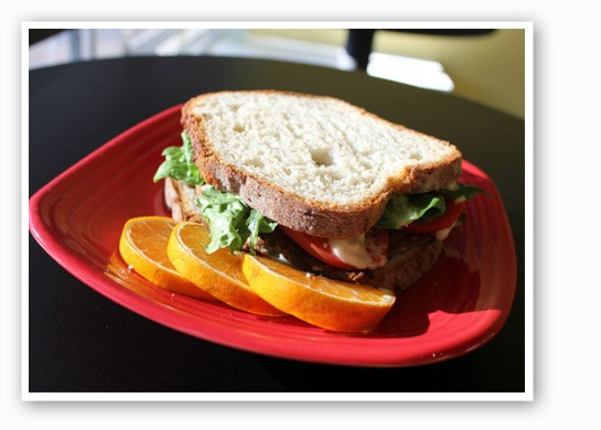 Tempeh, lettuce, tomato and mayo served on gluten-free bread at Frida's. | Liz Miller