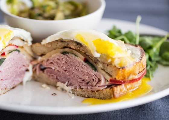 The Panorama croque-madame, with ham, apple, sage, gruyere, bechamel and egg.   Jennifer Silverberg