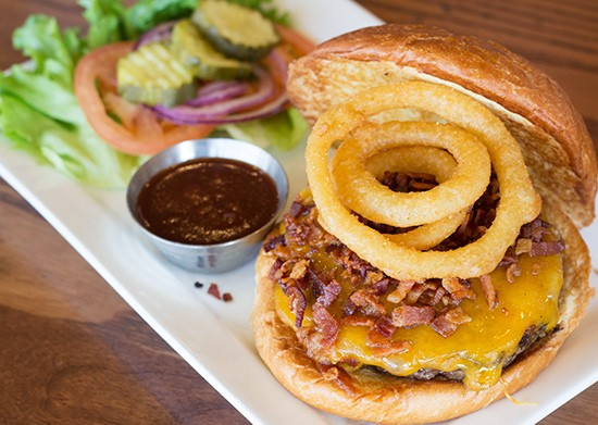 "Five Star Burgers' ""Gateway Burger"" with smoked bacon, cheddar, onion rings and Uncle Jack's barbecue sauce. - PHOTOS BY MABEL SUEN"