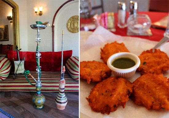 (Left) Hookah comes in more than twenty different flavors which can be mixed and matched. (Right) Mushat: fried cauliflower mixed with parsley, garlic, potato and spices served with spicy green chutney - MABEL SUEN