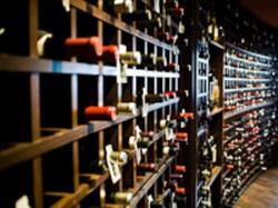 The wine collection at Araka in Clayton