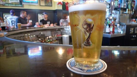 Budweiser: It's what American soccer fans drink to drown their sorrows. - PHOTOS BY KEEGAN HAMILTON