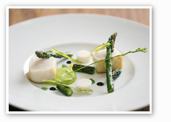 Escolar, along with asparagus, buttermilk and lemon verbena at Niche. | Jennifer        Silverberg