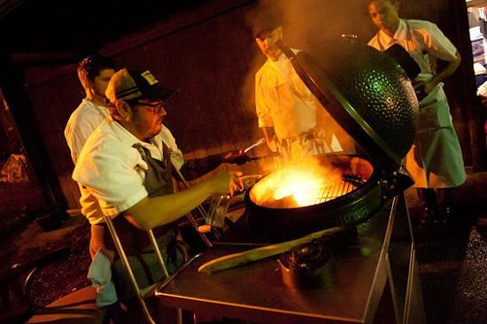 Charleston's chef Sean Brock at the grill. | Jon Gitchoff