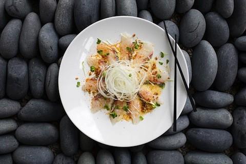 "White fish ""carpaccio"" at Takaya New Asian | Jennifer Silverberg"