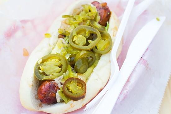 "Steve's ""Micho"" chorizo dog with cilantro, chipotle onions, relish, spicy brown mustard, jalapeno and avocado."