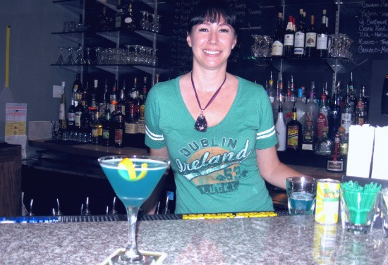 Sassy Jac's bartender Laura O'Connell with a Capri Sun cocktail. - ALICE TELIOS