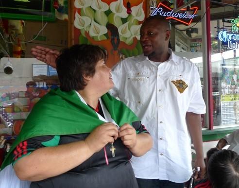 Lopez and the lone Bafana Bafana supporter - PHOTO BY KEEGAN HAMILTON