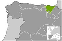 """The Basque region is highlighted. - USER """"MARTORELL,"""" WIKIMEDIA COMMONS"""