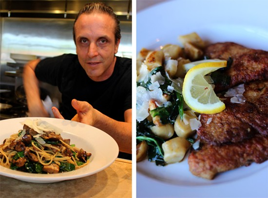 Funghi pasta: olive oil, mushrooms, roasted and fresh garlic, spinach and mushroom broth; Chicken scaloppine: Amish, cage free chicken, lightly-bread and pan roasted with house made gnocchi and spinach. - MABEL SUEN