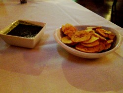 The plantain chips with cool lime salsa at Mango. - CAILLIN MURRAY
