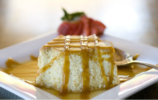 Flan at Mango plates vanilla custard made with eggs and liquor, drizzled with caramelized topping. - JENNIFER SILVERBERG