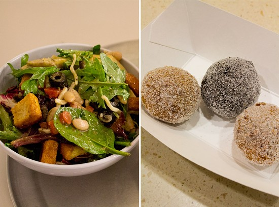 The best of both worlds -- a vibrant salad and some fried sugary treats. - MABEL SUEN