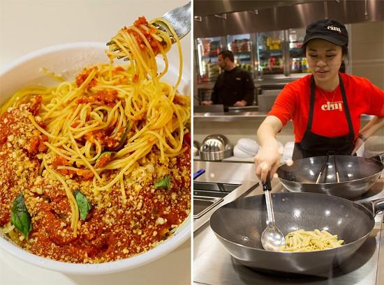 Angel hair pasta with pomodoro sauce and fresh basil. - MABEL SUEN