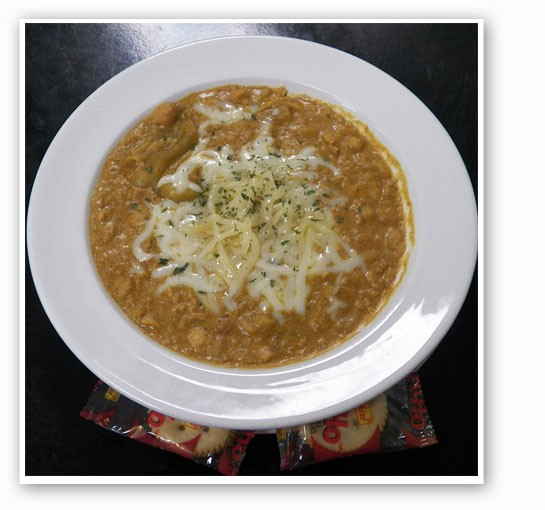 Llywelyn's white chili, with chicken, navy and garbanzo beans, pepperoncini peppers and cream. | Llywelyn's