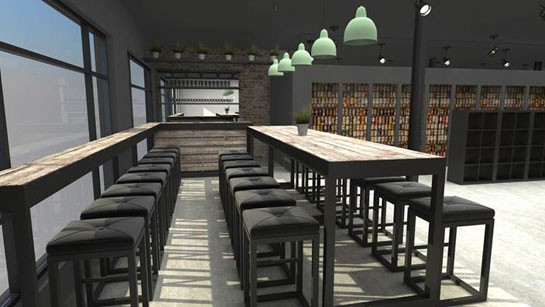 A rendering of the tasting bar inside Craft Beer Cellar. | CBC