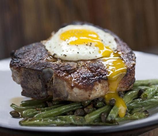 This photo of a pork chop topped with an egg at Cleveland-Heath is in no way meant to influence your vote. - JENNIFER SILVERBERG
