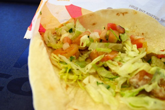 """Taco Bell's Pacific Shrimp Tacos: See them teensy peach-colored thangs? Them's """"Pacific"""" shrimp! - KATIE MOULTON"""