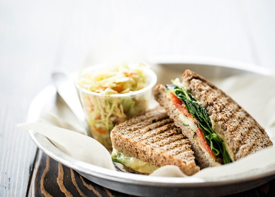 Grilled veggie sandwich with grilled zucchini, red pepper, caramelized onion, spinach and cheese. | Jennifer Silverberg