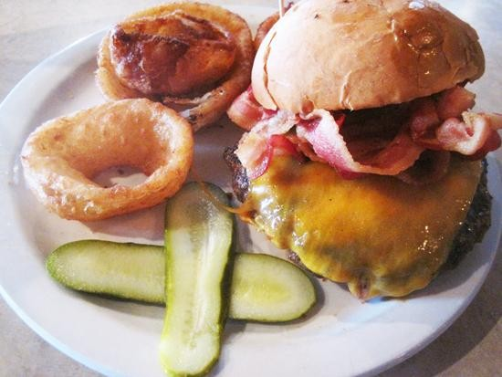 A burger with cheddar and bacon at Deaver's - IAN FROEB