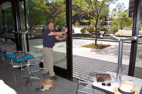 Jim Fiala at work during the construction of The Terrace View last year - NICK LUCCHESI
