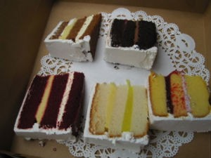 Here comes the bridal wedding cake sampler. - ROBIN WHEELER