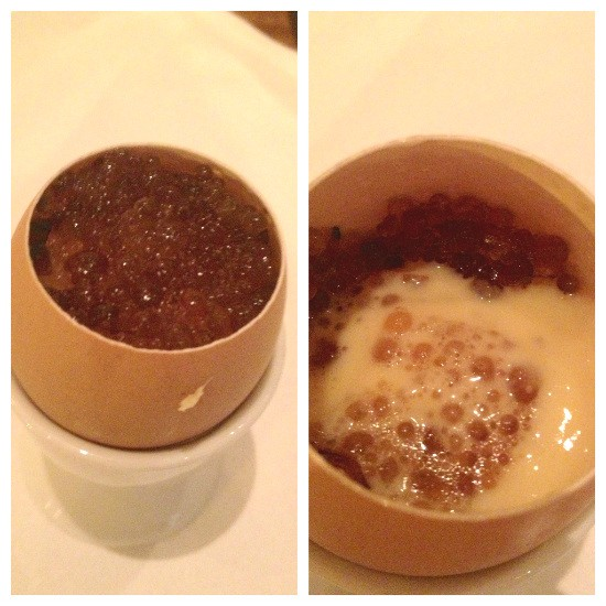 Maple custard with shiitake mushrooms and Bonito caviar. - EVAN C. JONES