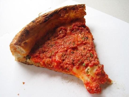 A slice of the deep-dish pizza at Feraro's - IAN FROEB