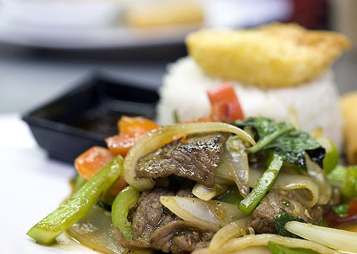 The Spicy Basil lunch special with beef is onions, basil leaves, green & red peppers with garlic Thai pepper sauce. As with most items on the menu, the diner has a choice of meat or vegetarian. This was one prepared with beef. See a photo slideshow here. - PHOTO: JENNIFER SILVERBERG