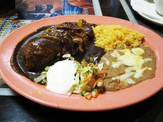 The mole poblano with chicken, a holdover dish at Taqueria los Tarascos - IAN FROEB