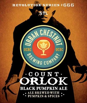 The label for Count Orlok Black Pumpkin Ale, featuring Max Schrek as Nosferatu. | Urban Chestnut