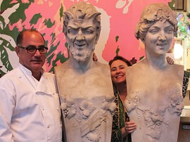 Chef David Zimmerman and owner Maebelle Reed in Plush's work-in-progress foyer. - MABEL SUEN
