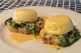 Fried green tomatoes benedict. - MABEL SUEN