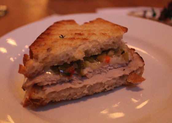 Pork loin painin with aged provolone and giardiniera. | Nancy Stiles