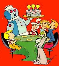 Rosie the Robot lures the Jetsons with delcious food. - HANNA-BARBERA