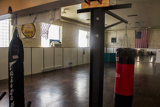 The room where karate and dance classes happen.
