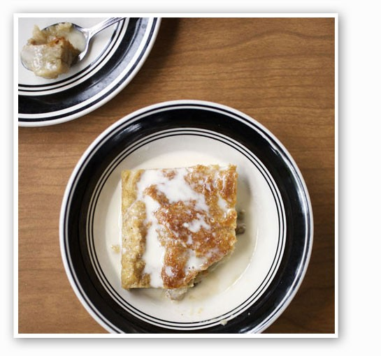 Creole bread pudding with whiskey sauce. | Jennifer Silverberg
