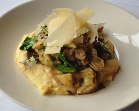 Assorted wild mushrooms & pecorino polenta | Tara Mahadevan