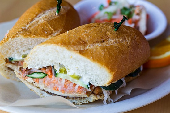 "LHC's vegan banh mi with sesame tofu, mushroom ""pate,"" pickled daikon radish, carrots, jalapeno and cucumber. 