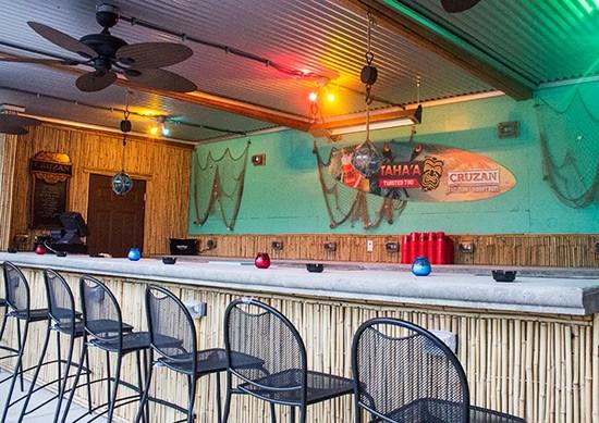 The outdoor bar.