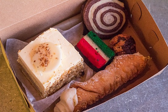 Cassata cake, a traditional cannoli, a tri-color cookie and more.