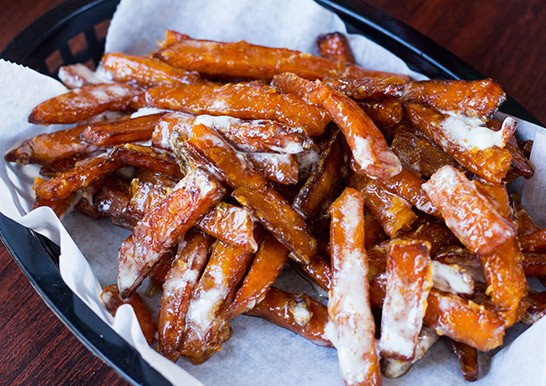 An order of the Kitchen Sink's marshmallow and syrup infused sweet potato fries. - ALL PHOTOS BY MABEL SUEN