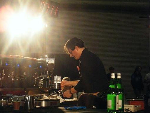 Photo courtesy Samantha Watts Marquard - KALDI'S MIKE MARQUARD COMPETES IN THE 2009 MIDWEST REGIONAL BARISTA COMPETITION