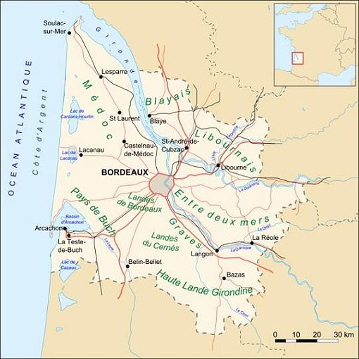 """Even Bordeaux covers a lot of ground. - USER """"LARROUSINEY,"""" WIKIMEDIA COMMONS"""