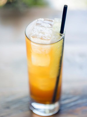 """The """"Elvis Costello Lost in Missouri,"""" made with Pimm's No. 1, Pinckney gin, housemade citrus soda, cucumber soda, cucumber ice and housemade mint tincture. 