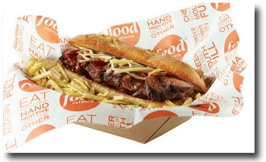 Food Network's St. Louis steak sandwich, featuring barbecue sauce and cheddar cheese, because apparently St. Louis rolls like that. - FOOD NETWORK