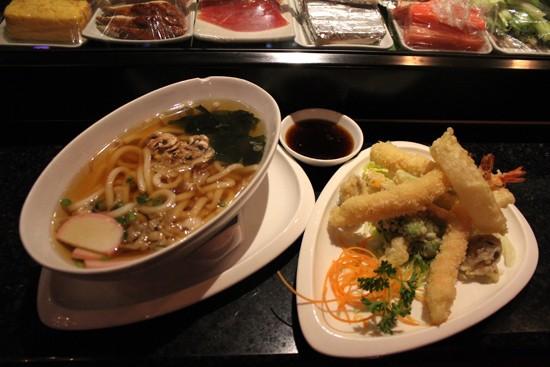 Café Mochi's Udon Soup, ($8) served with vegetable and shrimp tempura. - MABEL SUEN