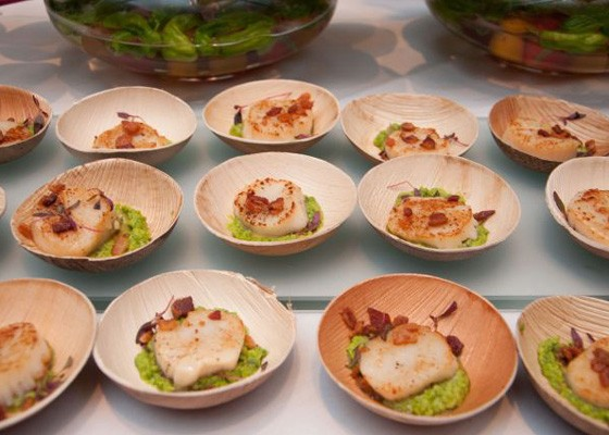 Seared sea scallops with minted pea pesto, applewood smoked bacon and micro red amranth from Central Table Food Hall at last year's event. | Micah Usher